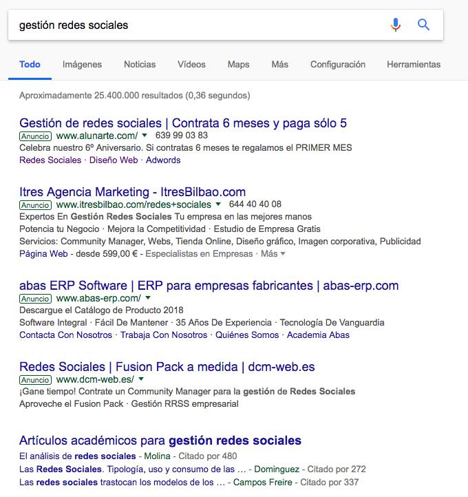 Ejemplo de anuncio en adwords