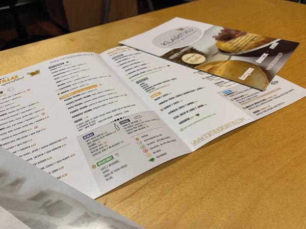 Diseño de carta para Tortillas Klaritxu | Alunarte diseño y comunicación | Vitoria-Gasteiz