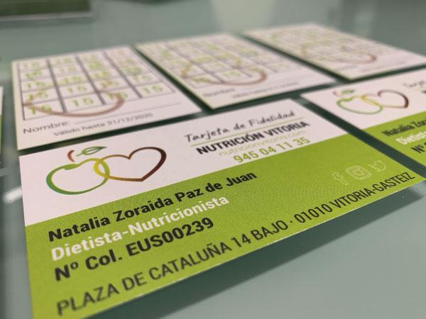 Diseño tarjetas de fidelización   Nutrición Vitoria   Vitoria-Gasteiz